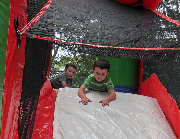 Brian and Justin on the bouncy house