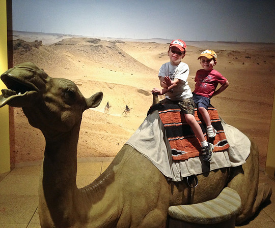 Justin and Brian on a camel